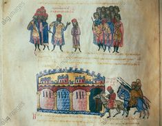 Illustration from Scylitzes Chronicle Maniakes is Denounced. Denounced together with John, brother of the emperor, Maniakes is escorted by soldiers to Constantinople. His hands are chained. Medieval Manuscript, Illuminated Manuscript, Abbasid Caliphate, Sassanid, Akg, 11th Century, Roman Empire, Byzantine, Black History