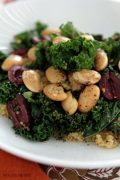 Sauteed Greens, Butter Beans and Lemon scented Quinoa