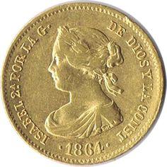Moneda de oro 40 Reales Isabel II 1864 Madrid.