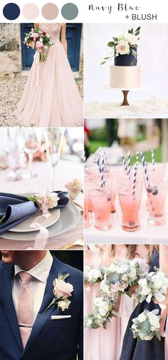 blush pink and navy blue wedding color ideas blush wedding cakes 10 Prettiest Blush Pink Wedding Color Ideas for Spring and Summer Blue And Blush Wedding, Pink Wedding Colors, Blush Pink Weddings, Wedding Color Schemes, Blush Wedding Palette, Navy Blue Wedding Theme, Romantic Wedding Colors, Blush Wedding Colour Theme, Wedding Ideas Blue