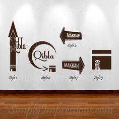 Qibla Arrow, Mekkah, Quran, Modern Arabic calligraphy, Islamic Art  –– Simply Impressions (http://www.SimplyImpressions.com) –– Wall Decorations  –– Wall Decals $5