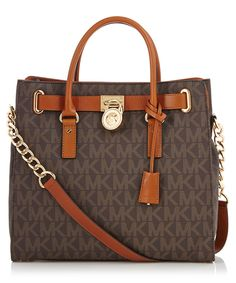 Brown+leather+perforated+logo+tote+bag+by+Michael+Kors+on+secretsales.com