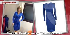 Where did Charlotte Hawkins get her blue wrap dress from on Good Morning Britain - Style on Screen Charlotte Hawkins, Good Morning Britain, Dresses For Work, Dresses With Sleeves, Wrap Dress, Long Sleeve, How To Wear, Blue, Style