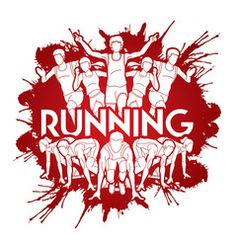 Group of people running with text running marathon vector Running Man Logo, People Running, Marathon Logo, Marathon Posters, City Marathon, Speed Logo, Running Posters
