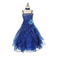 Flower Girl Dresses - Blue Flower Girl Dresses - CC1101 Royal Blue Organza Stone Pageant Dress So fluffy!  If the blue flower were orange... Not sure how well made it is, though.
