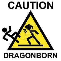 Skyrim Dragonborn Warning Sign by goblinworkshop.deviantart.com