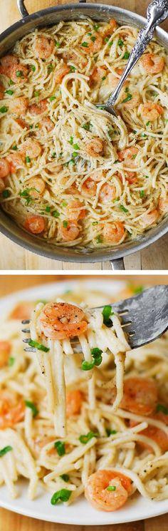 Garlic Shrimp Alfredo in a Creamy Four Cheese Pasta Sauce
