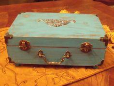 Jewelry Box Gift Distressed Box Fleur De Lis Shabby Chic French Country Blue Box Turquoise Box Keepsake Box aged distressed