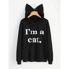 Slogan Print Cat Ear Hoodie (52 BRL) ❤ liked on Polyvore featuring tops, hoodies, sweaters, black, long sleeve hoodie, cat ear hoodie, pattern hoodie, patterned hoody and long sleeve hoodies