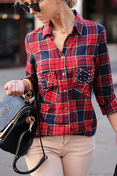 Plaid for british style-  Shirt: Choies http://www.choies.com/product/check-shirt-with-stud-pocket , Bag: Persun http://www.persunmall.com/p/british-style-lap-tassel-details-satchel-p-9246.html?from=checkout_order , Sunglasses: Choies http://www.choies.com/product/half-frame-angular-cat-eye-sunglasses