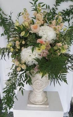 Pedestal arrangement #pedestalarrangement #blushflowers #urnarrangement