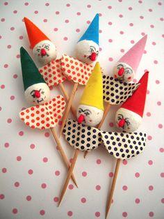 6 Vintage Spun Cotton Clown Cake Decoration