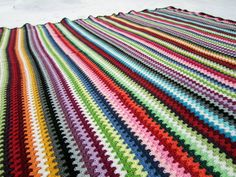 One-of-a-kind Crocheted Cotton Granny Goes Striped Blanket - Made in Finland - FREE SHIPPING. $2,675.00, via Etsy. HOW MUCH?!! Are you insane?! I could whip that up in a couple of weekends...