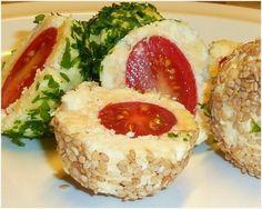 Cherry tomato-feta balls. Шарики с брынзой и помидорами черри