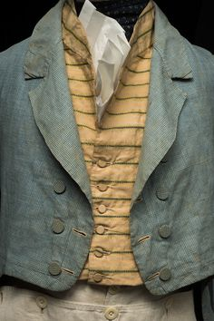"""sew_all_day American, most likely made in Britain. From the Historic Deerfield website: """"It reflects early summer clothing worn by men of moderate means in the Connecticut River Valley and elsewhere. The cut away design of this coat f 1800s Fashion, 19th Century Fashion, Europe Fashion, Fashion History, Vintage Fashion, Mens Fashion, 18th Century, Gothic Fashion, Historical Costume"""