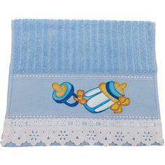 Toalhinha para Bebê Pintada Mamadeira Azul