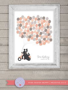 wedding guest book alternative - balloon print with couple on vespa