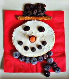 snowman bagels 1/2 bagel or 1 mini bagel = l bread serving for the CACFP.