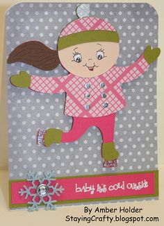 Staying Crafty: Baby It's Cold Outside Card using the Cricut and Peachy Keen Stamps.