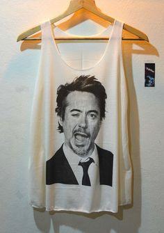 Robert Downey Jr Shirt Iron Man Shirts Wink Face by the3gethershop, $14.99