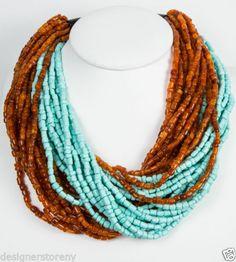 Angela Caputi Twisted Tortoise/Turquoise Resin Beads Necklace