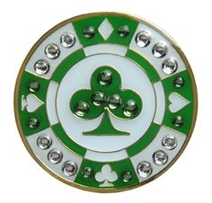 Navika Poker Chip Swarovski Crystal Ball Marker with Hat Clip (Green Clover) * Learn more by visiting the image link.