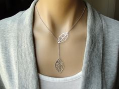 Delicate Leaf Outline Lariat in Silver -  feminine, gift, birthday, bridesmaid, mother, sister, daughter, wife, friend. $23.00, via Etsy.
