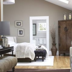 Neutral color with white trim. The colors in this bedroom are amazing! #design #interiordesign #decor
