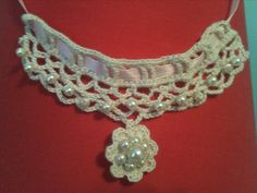 Crochet Necklace made w/Pearls, Lace & Ribbon...oh my!...created by Danita