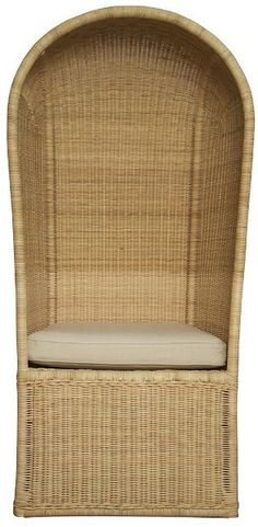 "Chair… Dimensions: 30.5"" X 26.5"" X 64"" H Wood type: Birch & Rattan Off white canvas cushion Please allow 2-3 weeks"