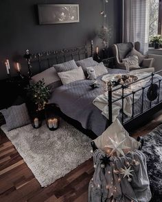 I like the mood of this room-for future bedroom decor. I love the edison bulb lamps and the lights that hang down the wall and that are wrapped around the headboard too. Dream Rooms, Dream Bedroom, Home Decor Bedroom, Bedroom Ideas, Dark Furniture Bedroom, Bedroom Lamps, Small Master Bedroom, Dark Cozy Bedroom, My New Room