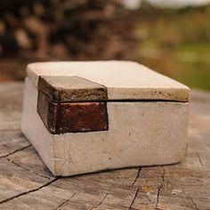 Raku ceramic lidded box handmade one of a kind OOAK