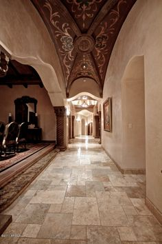 Mediterranean home's Gallery / Foyer with beautifully painted groin vault ceiling. Beautiful Architecture, Architecture Details, Interior Exterior, Exterior Design, World Decor, Biltmore Estate, Tuscan House, Faux Painting, Wall Finishes