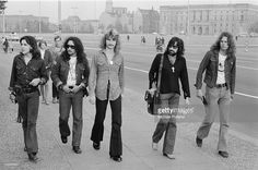English rock bands Uriah Heep and Paladin in East Berlin, Germany, September 1971. Uriah Heep guitarist Mick Box is 2nd from left, singer David Byron 3rd from left.