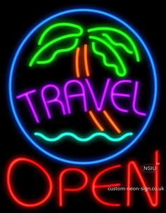 Travel Open Real Neon Glass Tube Neon Signs