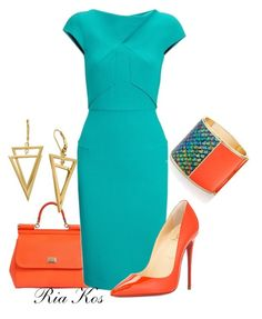 lovely dress by ria-kos on Polyvore featuring Roland Mouret, Christian Louboutin, Dolce&Gabbana and Sarah Magid