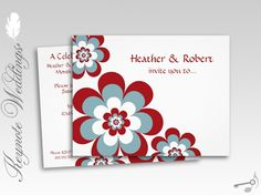 Red White and Blue Tropics Wedding Reception ONLY Invitations
