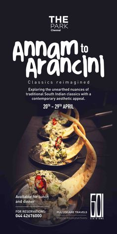 Annam to Arancini - classics reimagined at Six 'O' One. We unearth you a contemporary gastronomic twist with amazing South Indian classics. It's a culinary collaboration of sorts between Master Chef Baskar of The Park Chennai, and Food Traveller and Researcher Rakesh Raghunathan of Puliyogare travels by Rakesh Raghunathan. Available for lunch and dinner. Contact 044 4267 6000 for reservations. #theParkChennai #culinary #aesthetic #SouthIndianfood #contemporarykitchen #gastronomy #masterchef…