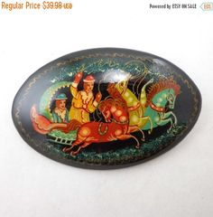 SALE Russian Lacquer Brooch Pin Horses Sleigh Signed Miniature Mstera Mctepa by Sisters3andMe on Etsy