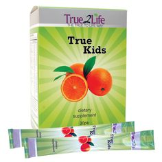 No more struggling to force your children to take their vitamins! Developed with both children and parents in mind, TrueKids is an orange-flavored, comprehensive blend of vitamins, minerals, anti-oxidants, amino acids, fatty acids,CoQ10, green super foods, probiotics, and gluten-free fiber