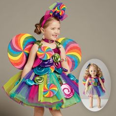 Candy Fairy Girls Costume - Exclusively Ours - Know a little girl with a sweet tooth? This candy fairy girls costume is covered in tasty treats, including bright candies dangling around her fluffy tulle skirt.