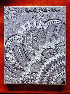 Zentangle Art on canvas by ArtyAM on Etsy