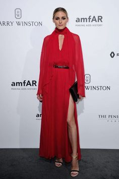 """Style maven, Olivia Palermo donned the """"Robin"""" tie neck dress at a dinner hosted by amfAR The Foundation for AIDS Research during Haute Couture Week in Paris on July Style Olivia Palermo, Olivia Palermo Lookbook, Diane Kruger, Kendall Jenner, Taylor Swift, Couture Week, Glamour, Red Carpet Looks, Star Fashion"""