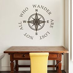 Amazon.com - Not All Who Wander Are Lost Vinyl Compass Wall Decal Nautical Wall Quote Wall Letters Words Compass Rose Wall Sticker Home Art Decor Black -