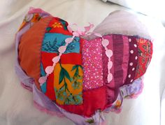 quilted HANDMADE pillow PINK COLORS SPECIAL HEART SHAPE WITH LACE AND RIBBONS