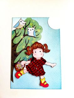 Postcard Girl with Owls by Tickledpinksheep on Etsy, £2.50