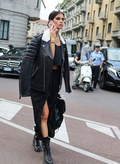 Sara Sampaio spotted on the street at Milan Fashion Week. Photographed by Phil Oh.