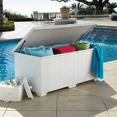 Outdoor Patio Storage Chests:  Use our Outdoor Patio Storage Chests to unclutter your patio and easily store pool floats, furniture cushions, garden tools, or sports equipment. Our marine-grade storage chests are rugged enough to keep outdoors year-round and sturdy enough to double as benches. See how our patio storage chests surpass others.