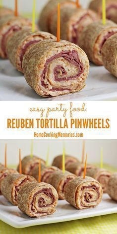 Reuben Tortilla Pinwheels - an easy party food for St. Patrick's Day or fans of the Reuben Sandwich! Corned beef, swiss cheese, and more all rolled up in a bite-size appetizer.