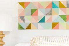 DIY This Gorg Geometric Paper Patchwork Art via Brit + Co.